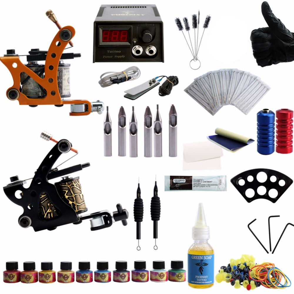 Complete Tattoo Kit 2 Tattoo Machine Gun Set 10 Colors Ink Pigment Sets LCD Power Supply Permanent makeup Tattoo Machine SetComplete Tattoo Kit 2 Tattoo Machine Gun Set 10 Colors Ink Pigment Sets LCD Power Supply Permanent makeup Tattoo Machine Set