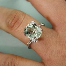 Fashion Green Crystal Zircon Ring Wedding Wedding Lady Zircon Ring Silver Jewelry for Women Gifts sz 6 7 8 9 10 Y-40 luxury fashion aaa zircon ms men s ring valentine s day gift wedding ring for men s jewelry sz 6 7 8 9 10 11 12 13 y 40