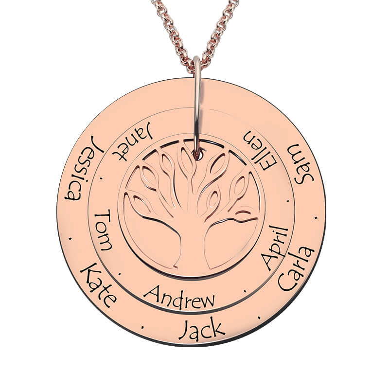 Personalized Family Tree Necklace Engraved Rose Gold Color Disc with Names Hand Stamped Layered Family Tree Disc Necklace engraved family tree bracelet with birthstones rose gold color disc mother