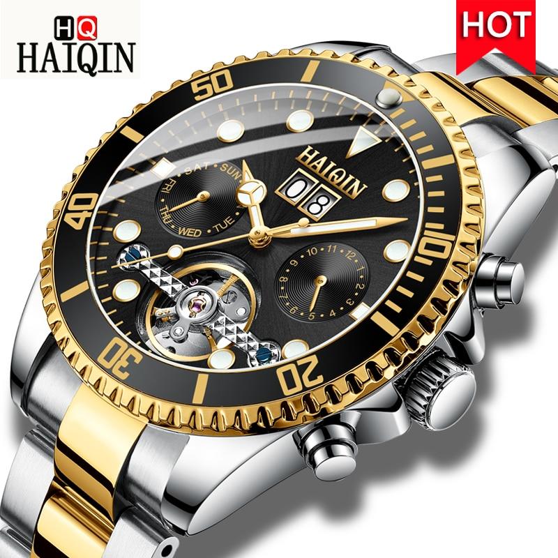 HAIQIN Luxury Men Watch Mechanical watch Tourbillon Automatic Stainless Steel Watch Male Sport Clock Waterproof Wrist