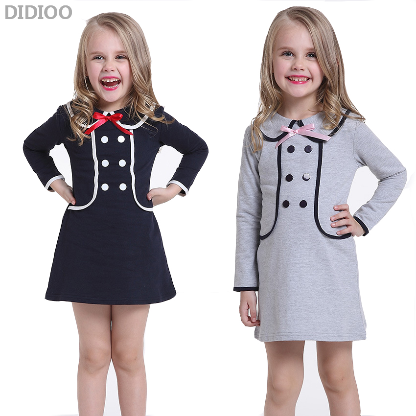 Spring & Autumn Girls Dress Cute Long Sleeve Cotton Dresses Fashion School Style Double-Breasted Costume Kids Clothes For Girl