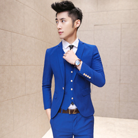 ( jacket +vest + pants ) 2017 Mens fashion boutique pure color high-grade brand groom wedding dress suits / Male business suits
