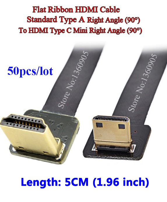50PCS Short 5CM Soft FPV HDMI Cable Mini Type C Male to Male Standard Right Angle 90 degree for 5D3 5D2 GH3 GH2 5N 5T 5R 7N DJI 80 channels hdmi to dvb t modulator hdmi extender over coaxial
