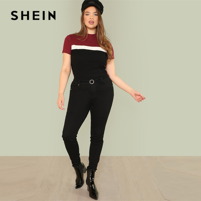 SHEIN Multicolor Plus Size Color Block Rib Knit Fitted Stand Collar Stretchy Tee 2019 Summer Women Short Sleeve Casual T Shirts 3
