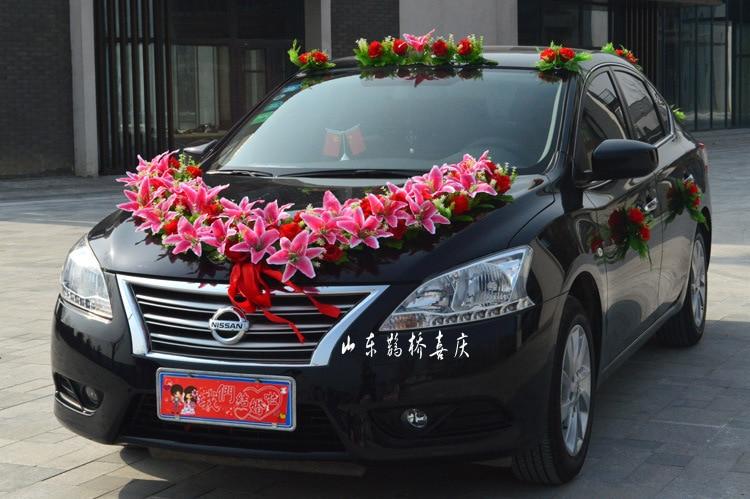 Hot Prodej Umělé Lily Rose Květiny Svatební auto dekorace Set ve tvaru srdce Factory Velkoobchod