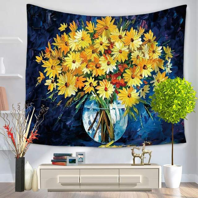 Floral Tapestry Painting Table Cloth Beach Towels Sheets Wall Blankets Yoga Mat Mandala Tapestry Decoration Hippie Tapiz Pared