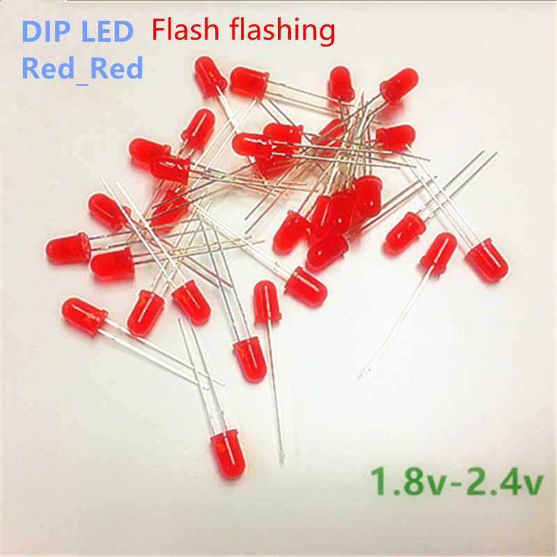 100PCS/pack 5mm LED Flicker Diodes Flashing Red diffusion Red Emitting Flash alone Blink Self-flashing 2.0 v 2.2 v Short legs