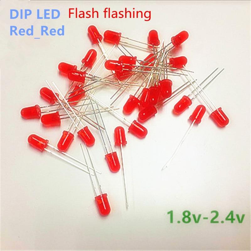 5mm  LED Flicker Diodes Flashing Red Diffusion Red Emitting Flash Alone Blink Self-flashing 2.0 V 2.2 V Short Legs