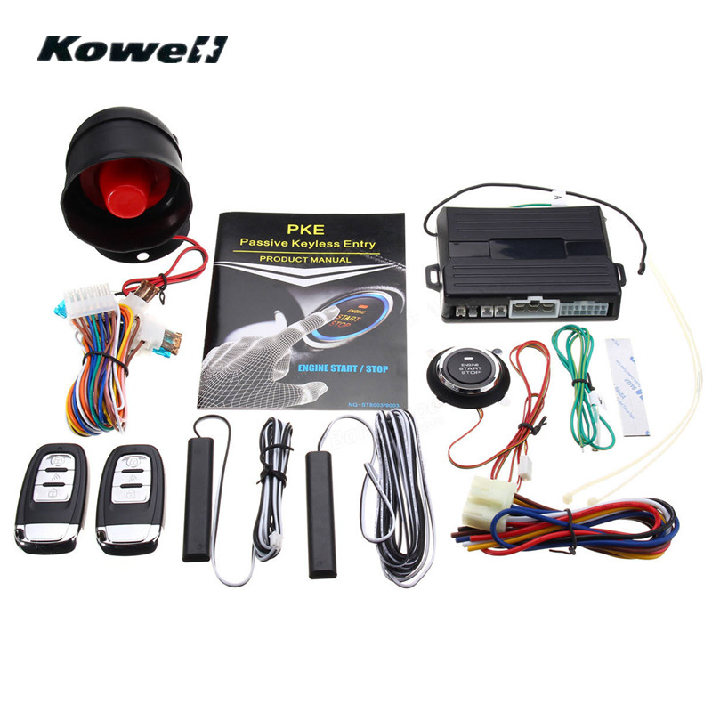 KOWELL Hopping Code PKE Car Alarm System W Passive Keyless Entry Remote Engine Start / Stop Push Button Power Ignition Switch