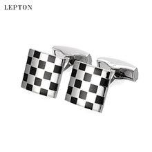 Лептон черные бизнес запонки для мужчин модные квадратные эмалированные
