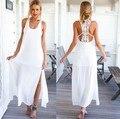 2017 estilo del verano de las mujeres elegantes de long beach vestidos o cuello ocasional sólido blanco de encaje maxi dress vestidos l106