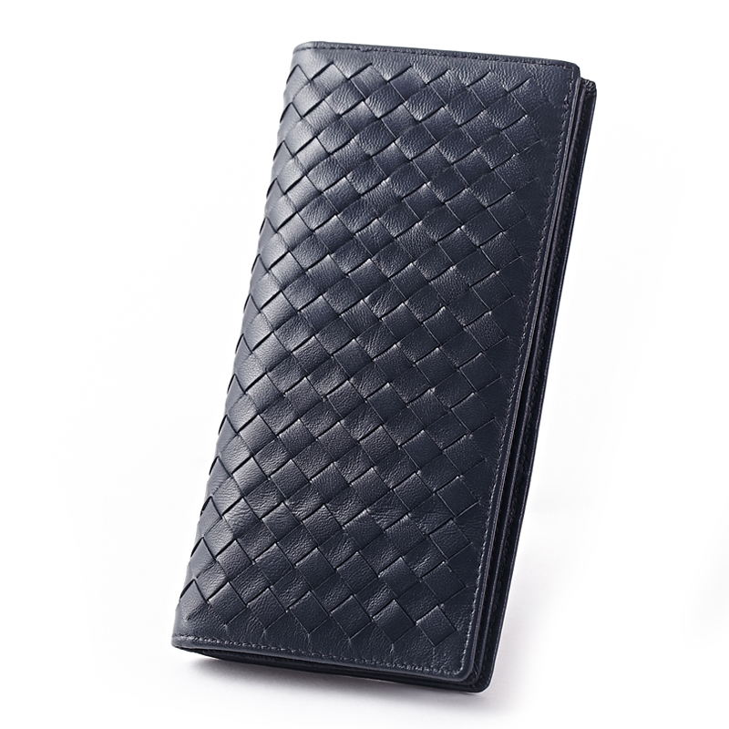 Men Wallets Purses Sheepskin Folio Knitting Handmade Premium Genuine-Leather Luxurious
