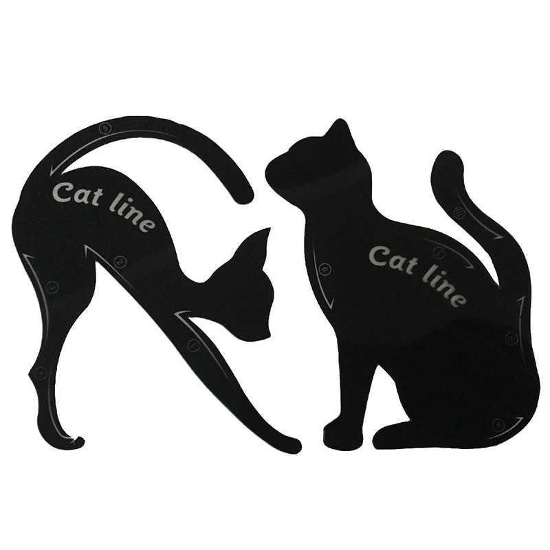 Novo 2 pçs linha de gato profissional olho maquiagem ferramenta sombra delineador stencils modelo modelador presente compõem kit para olhos senhora