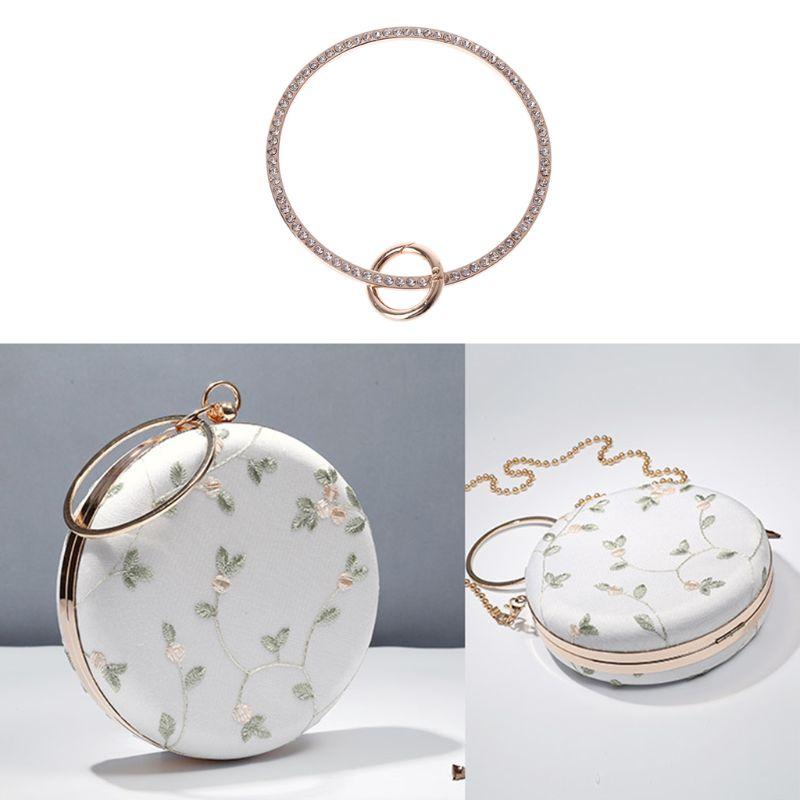 THINKTHENDO 2019  Ring Design Metal Rhinestone Purse Handle for Bag Making Handle Replacement DIY Crafts
