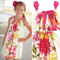 Brand New Girl's Floral printed Dress,New 2015,kids clothes,girl party dress,kids girl clothes,3-9y children clothing