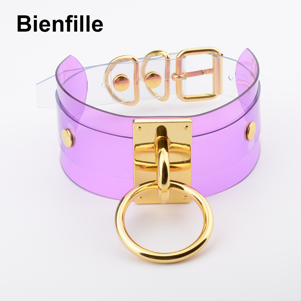 Harajuku Oversized Buckle Rock Double Layer Leather Collar Necklace Silver Gold 40mm O Round Fetish Bondage Sexy BDSM PVC Choker