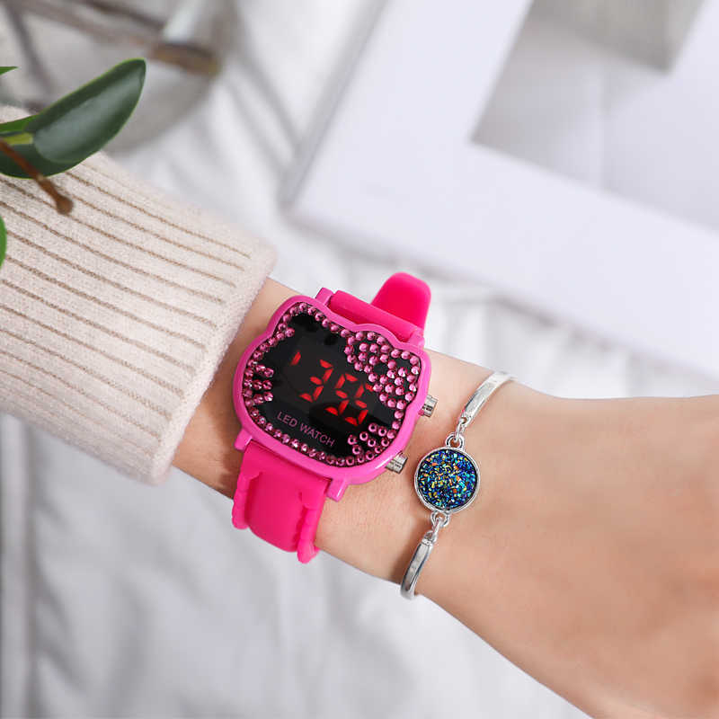 Hello Kitty Cartoon Watches Kid Girls Relogios Sport Wristwatch Children Led Digital Diamond Wrist Watch Nina Reloj Nino Clocks