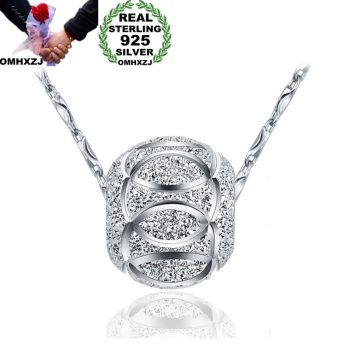 OMHXZJ Wholesale European Fashion Woman Man Party Wedding Gift Silver Beads 925 Sterling Necklace Pendant Charm CA102