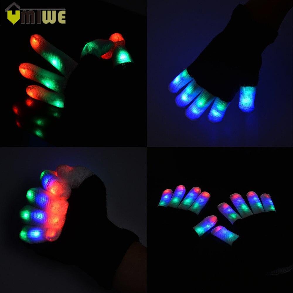 Creativo 7 Modalità LED Guanti Rave Luce Della Barretta di Illuminazione Lampeggiante Glow Mittens Festive Rifornimenti Del Partito Evento Luminoso Fresco Guanti