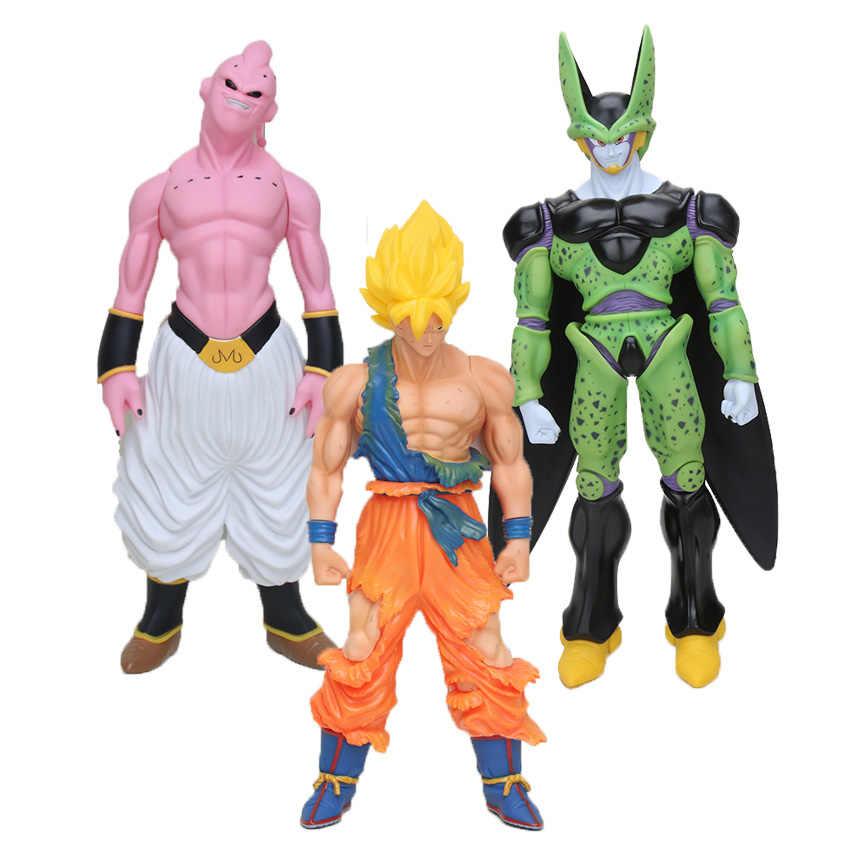 Dragon Ball Z фигурка супер большой размер Majin Buu Cell красные волосы Супер Саян Гоку ПВХ Фигурки Модель Коллекция игрушек