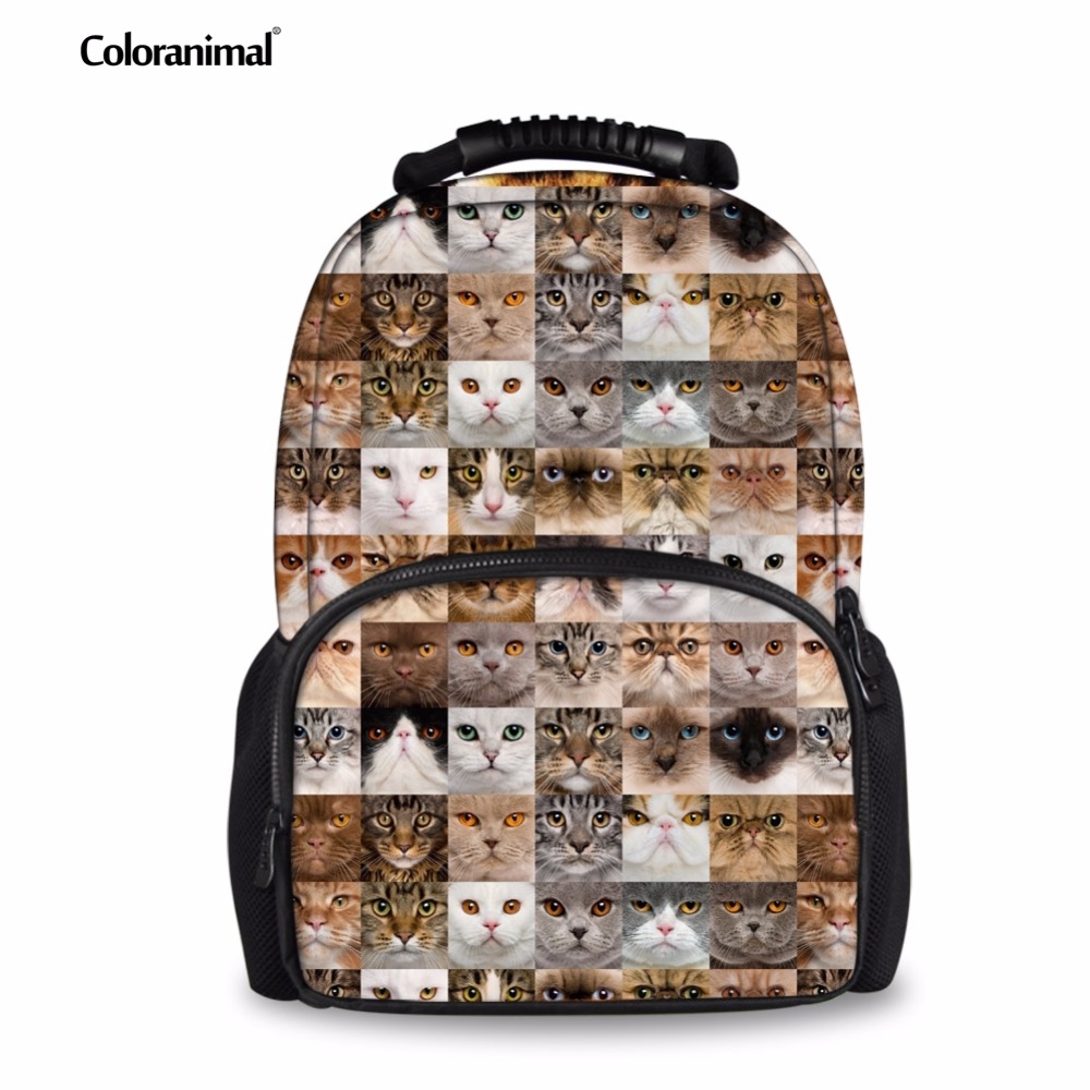 Coloranimal Puzzle Cat Dog Head Patten School Backpack for Boys 3D Animal Printed Portable Shoulder Bookbags Customized Bagpacks large 24x24 cm simulation white cat with yellow head cat model lifelike big head squatting cat model decoration t187