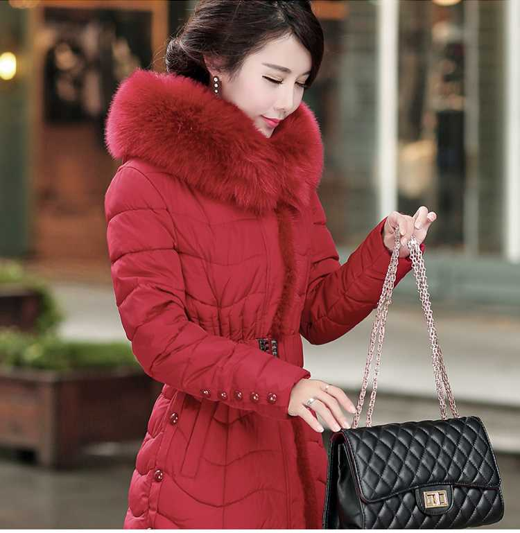 Women Fur Collar Slim Long Down Parkas 2015 Fashion Ladies Thicken Wadded Overcoat Winter Coat Jacket Women Plus Size 4XL H5649 winter down coat women 2016 fashion fur hooded slim waist x long down parkas women thicken wadded outerwear plus size xxl h6358