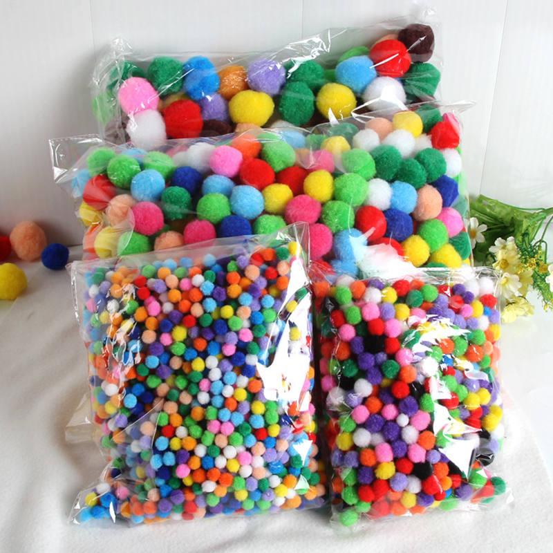 Pompom 8mm 10mm 15mm 20mm 25mm 30mm Round Pom Poms Fur Balls DIY Crafts Pompoms For Kids Wedding Garment Sewing Home Decorations