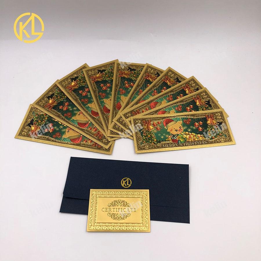 10 шт./лот Новогодний подарок Санта Клаус Золотая фольга банкноты красочные USD 2 доллар с сертификатом позолоченный Рождественский подарок