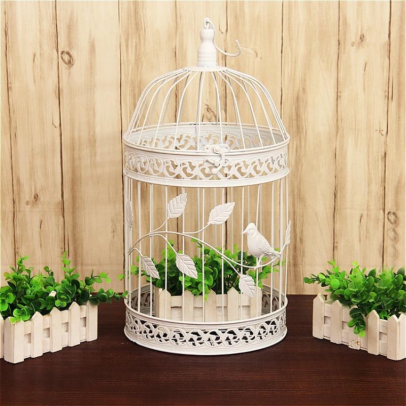 1pcs European iron decorative birdcage wedding window ornaments photography props balcony decoration white