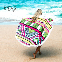 PDG Swimsuit Coverups Tassel Beach Printed Bathing Suit Cover Ups Round Swimming Cover