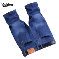 VROKINO 2019 Men's New Summer Casual Shorts Jeans Stretch Breathable Jeans Straight Men's Jeans Light Blue Men's Shorts 42 44