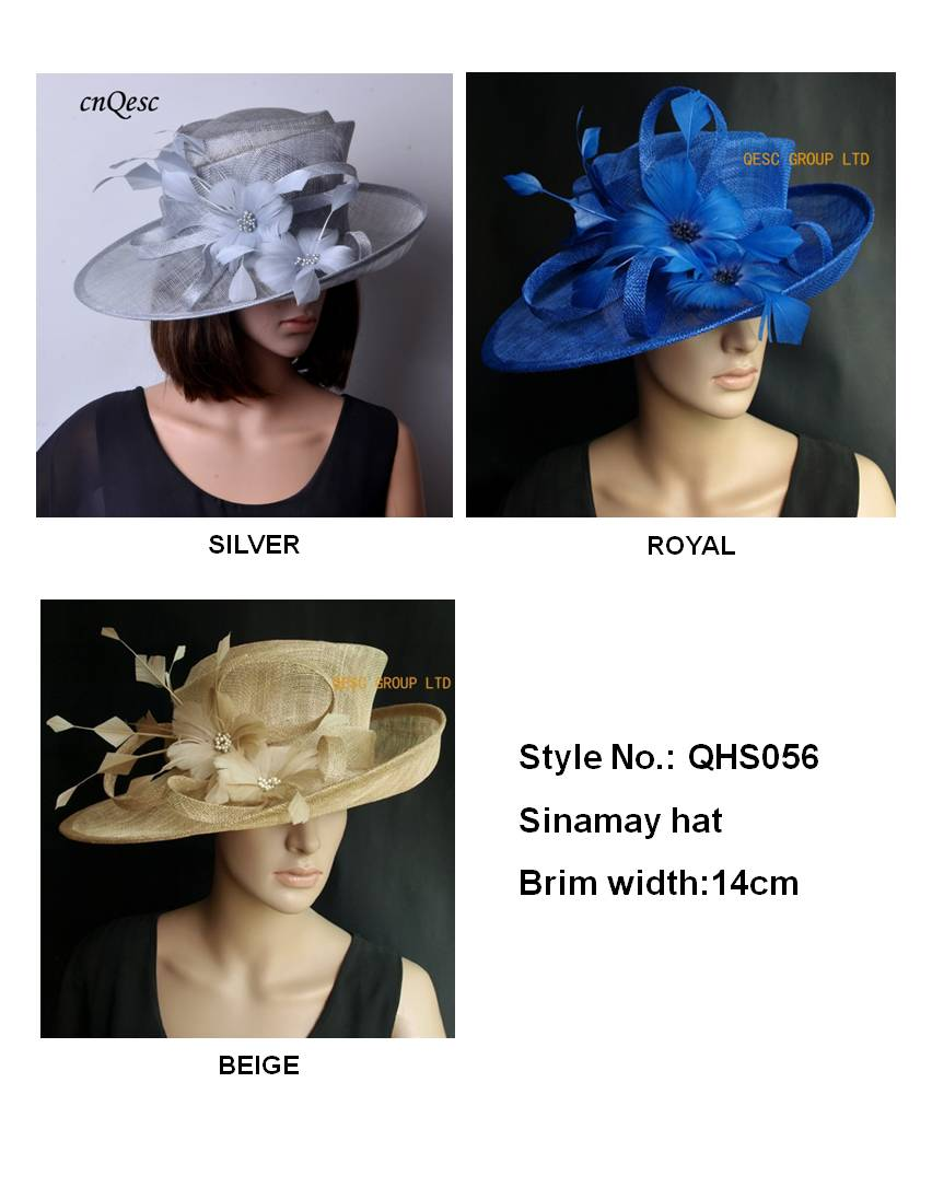 NEW Sinamay hat Kentucky derby Hat Church Hat.Royal blue,silver,beige.FREE SHIPPING,5 colour.