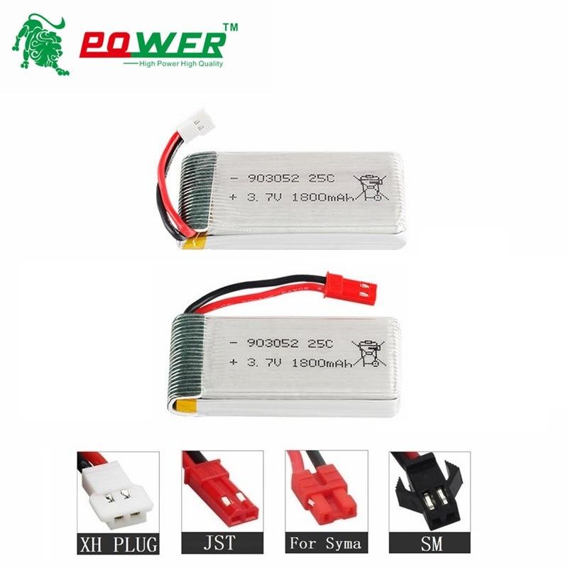 2Pcs 1800mAh 3.7v Lipo Battery For KY601S SYMA X5 X5S X5C X5SC X5SH X5SW X5UW X5UC M18 H5P H11D H11C T64 T04 T05 F28 F29 T56