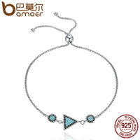 BAMOER Authentic 925 Sterling Silver Triangle Geometric CZ Chain Link Adjustable Women Bracelet Sterling Silver Jewelry