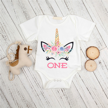 2018 Baby Clothing Sets Unicorn Printed Newborn Clothes Girl Set 2Pcs Bodysuit+Flowers Legging 1Year Birthday Infant Baby Set
