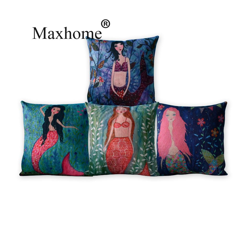 Nordic Fairy Tale Cartoon Mermaid Linen Cotton Cushion Square Cushion Decorative Pillows Home Decor Sofa Throw Pillow Cushion