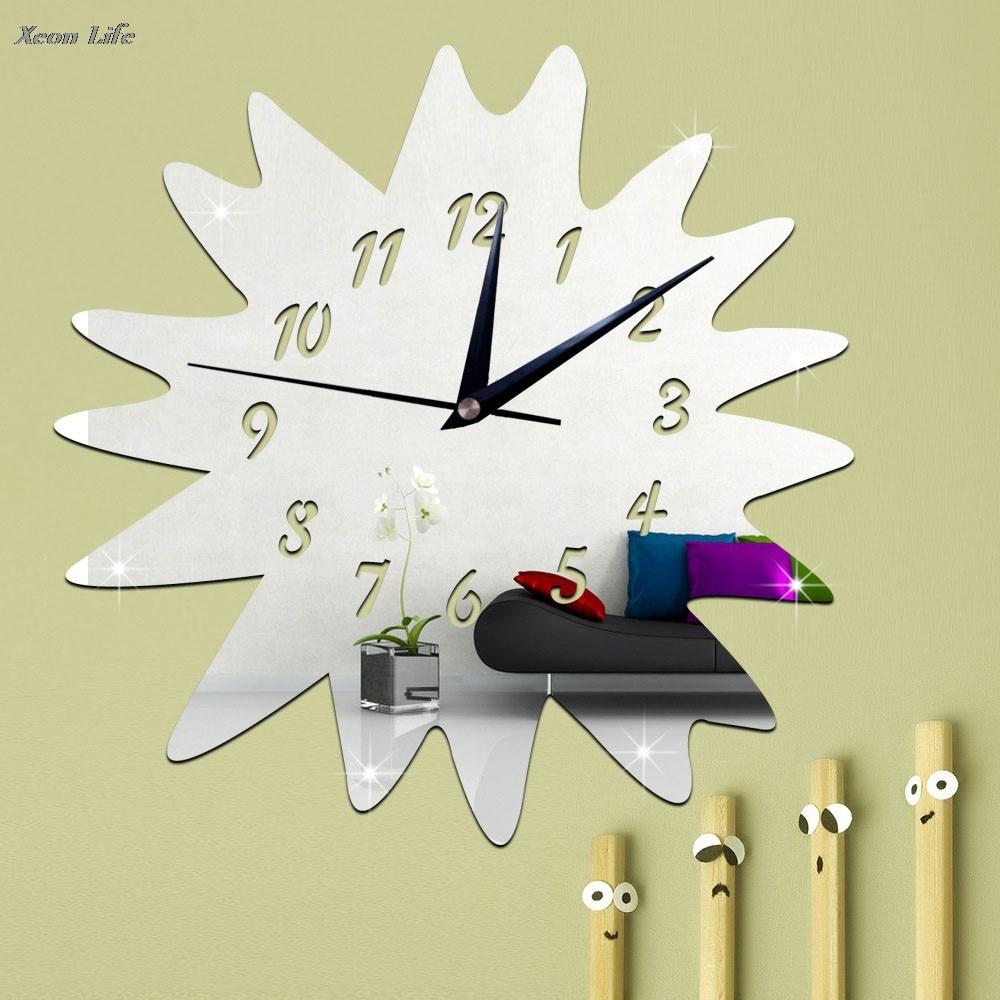 30X30cm Sunflower Mirror Silver Wall Clock Modern Design Home Decor Watch Wall Sticker Bellfree Shipping
