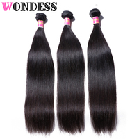 WONDESS Hair Straight Hair 3 Bundles Brazilian Virgin Hair Natural Color 8inch 30inch Human Hair Extensions Double Weft