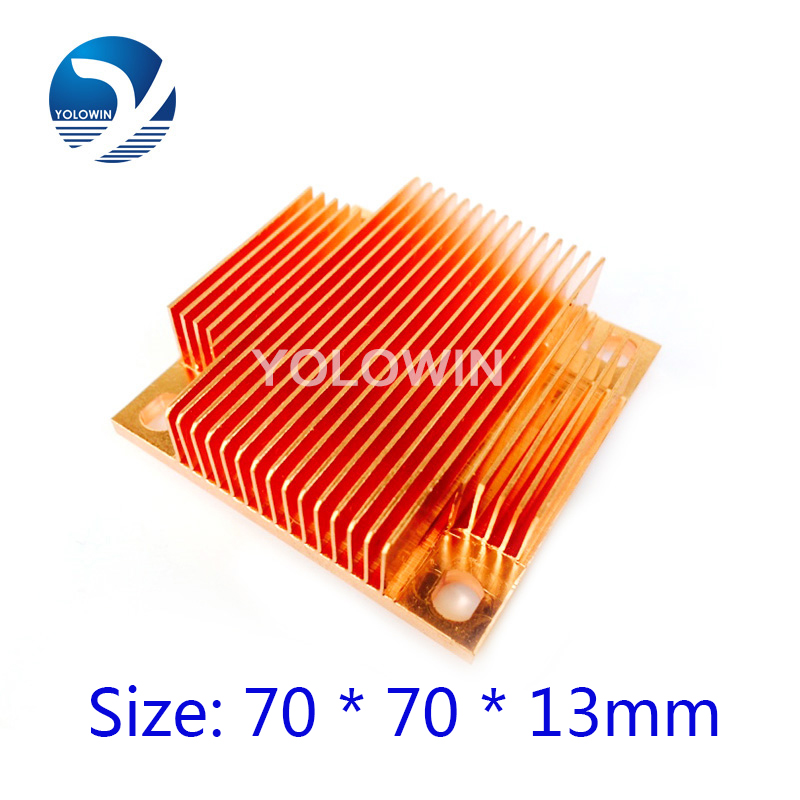100% New Pure Copper Heatsink Fans & Cooling skiving fin heatsink radiator electronic CPU GPU RAM Chip Led VGA YL-0039 1u cpu cooler radiator copper heatsink for computer server intel lga 775 active cooling skiving fin