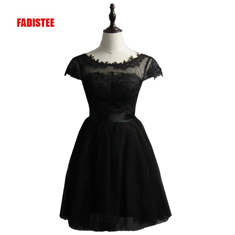 FADISTEE New arrival elegant party   dress     cocktail     dresses   Vestido de Festa satin A-line tulle bow short lace   dresses