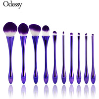 10PCS Oval Mermaid Makeup Brush Set Professional Purple Kabuki Foundation Powder Eyebrow Unicorn Make Up Brush