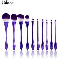 10PCS Oval Mermaid Makeup Brush Set Professional Purple Kabuki Foundation Powder Eyebrow Unicorn Make Up Brush