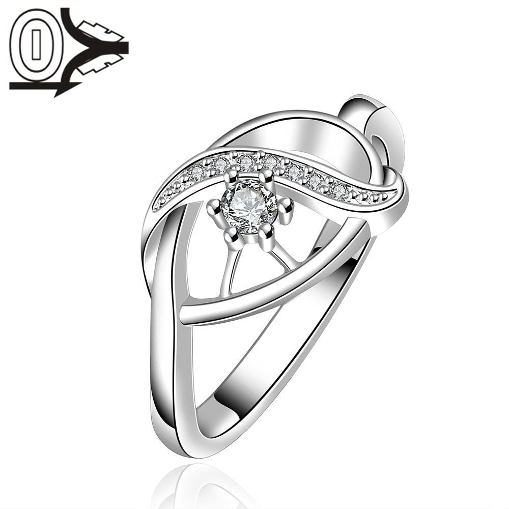 Free Shipping Wholesale Silver-plated Ring,Silver Fashion Jewelry,Women Gift Round Crystal Stone Intersect Silver Finger Rings