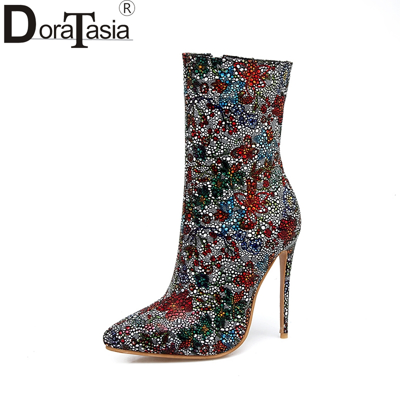 DoraTasia 2017 Plus Size 33-48 Pointed Toe Women Shoes Woman Sexy Thin High Heels Wedding Boots Winter Colorful Party Footwear karinluna 2017 plus size 33 43 customized black women shoes sexy thin high heel party wedding shoe winter long boots