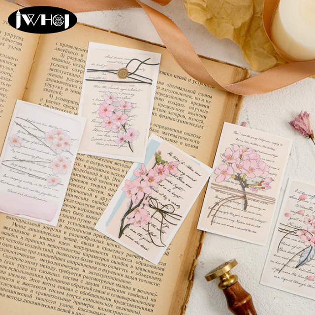28pcs Pack Beautiful Flowers Pink Sakura Letter Mini Lomo Card Valentines Day Greeting Postcard Birthday Gift Message