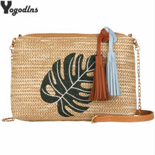 Fashion Embroidered Women Straw Braided Bag Casual Shoulder Messenger Bags Girls Tassel Handbags Lady Travel Crossbody Bag(China)