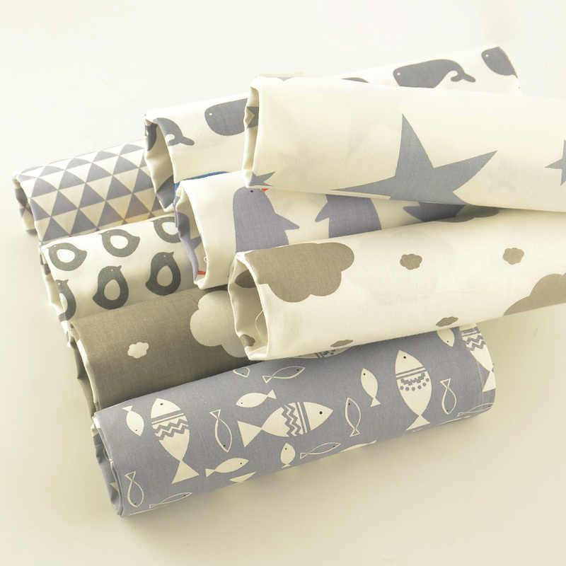 서적 100% 목화 능 직물 8 개/몫 40cm x 50cm 회색 시리즈 천으로 섬유 퀼트 침구 diy 아기 공예 인형 tecido tissu