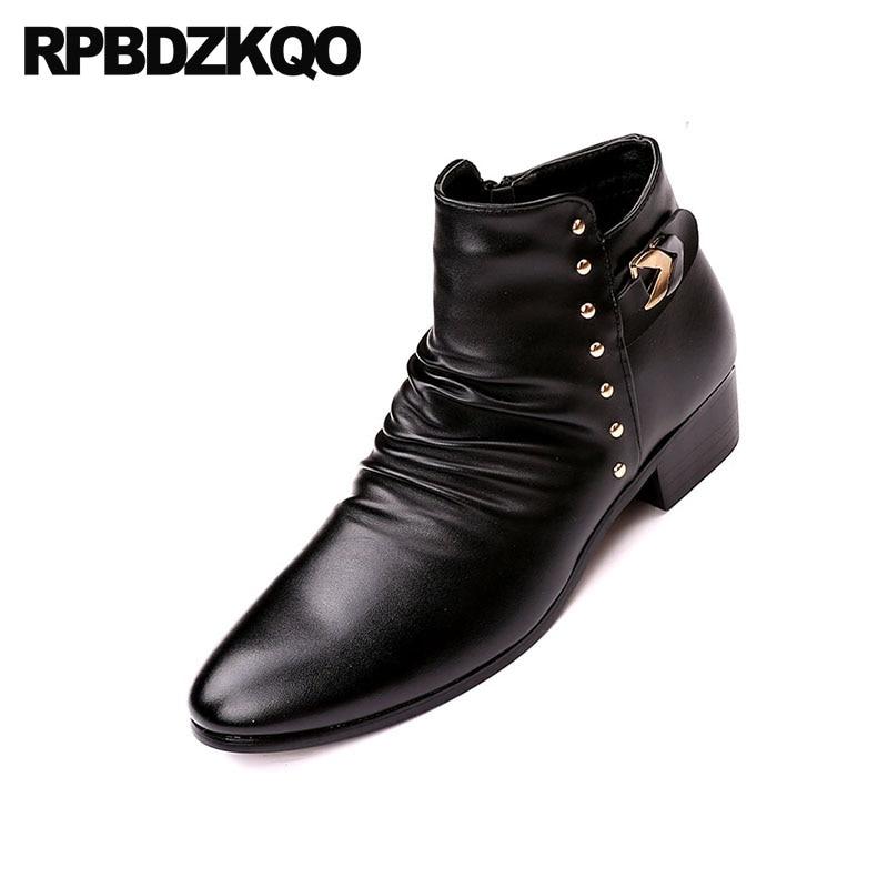 c6fb3fb814d US $64.84 36% OFF Rivet Mens Zipper Dress Boots Black Chunky Shoes British  Style Pointed Toe Stud Winter Rock Fur Punk High Top Metalic Booties-in ...