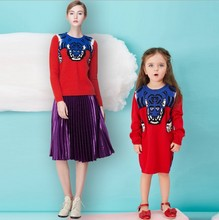 Mother and Daughter Clothes Tiger Sweaters Family Matching Outfits Sweaters for Mom and Kids Fashion Cardigan
