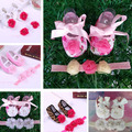 baptism Newborn Baby Girl Shoes Brand,Toddler Infant Fabric Baby Booties Headband Set,Little Girl Baby Walker Baby Moccasins